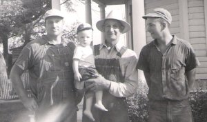 My father, Lynn Henschen, center front, has been proudly eating butter for 56 years. He's pictured here on his family farm in Central Illinois circa 1960 with my grandfather LaVerne, left, Uncle Terry, right, and great grandfather Albert, center back.